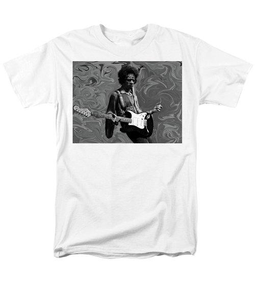 Men's T-Shirt  (Regular Fit) featuring the photograph Jimi Hendrix Purple Haze B W by David Dehner