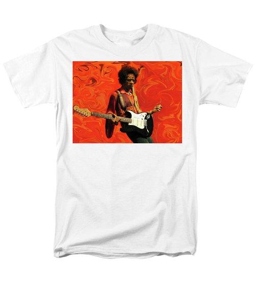 Men's T-Shirt  (Regular Fit) featuring the photograph Jimi Hendrix Purple Haze Orange by David Dehner