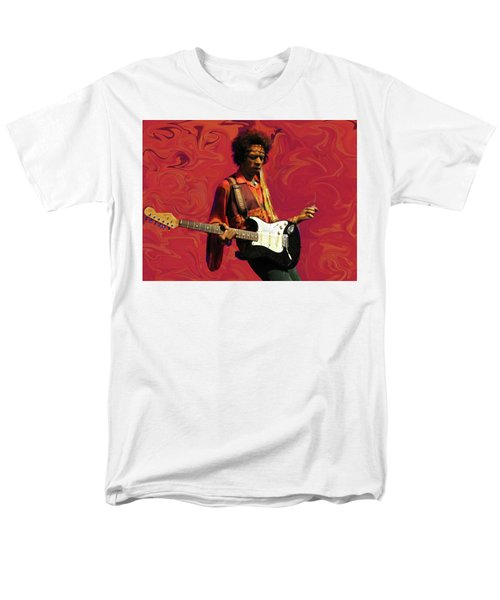 Men's T-Shirt  (Regular Fit) featuring the photograph Jimi Hendrix Purple Haze Red by David Dehner