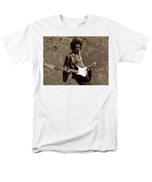 Men's T-Shirt  (Regular Fit) featuring the photograph Jimi Hendrix Purple Haze Sepia by David Dehner
