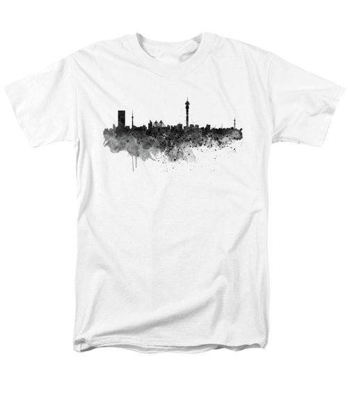Johannesburg Black And White Skyline Men's T-Shirt  (Regular Fit) by Marian Voicu