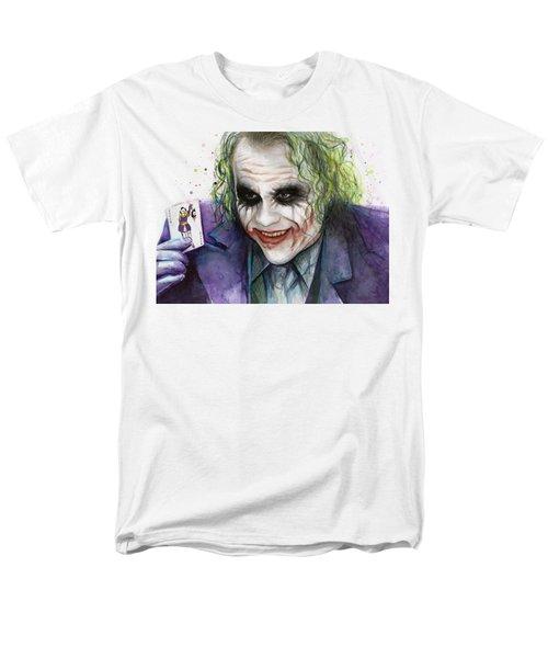 Joker Watercolor Portrait Men's T-Shirt  (Regular Fit) by Olga Shvartsur