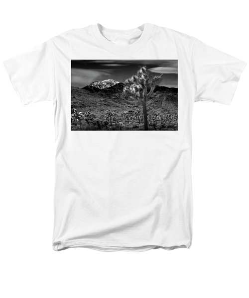 Men's T-Shirt  (Regular Fit) featuring the photograph Joshua Tree In Black And White In Joshua Park National Park With The Little San Bernardino Mountains by Randall Nyhof