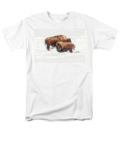Juvenile Bison With Adult Bison Men's T-Shirt  (Regular Fit) by Sue Smith