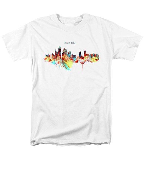 Kansas City Skyline Silhouette Men's T-Shirt  (Regular Fit) by Marian Voicu