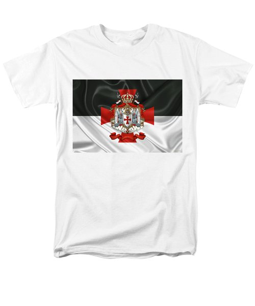Knights Templar - Coat Of Arms Over Flag Men's T-Shirt  (Regular Fit)