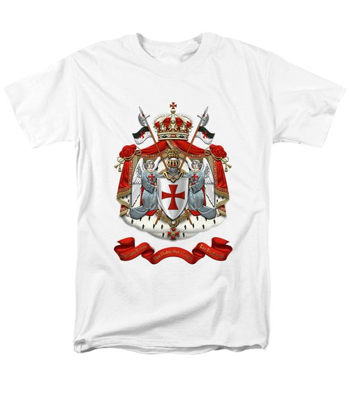Knights Templar - Coat Of Arms Over White Leather Men's T-Shirt  (Regular Fit) by Serge Averbukh