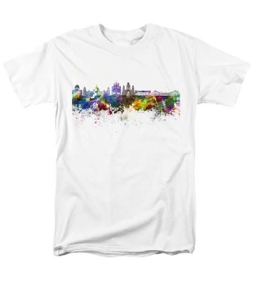 Kolkata Skyline In Watercolor Background Men's T-Shirt  (Regular Fit) by Pablo Romero