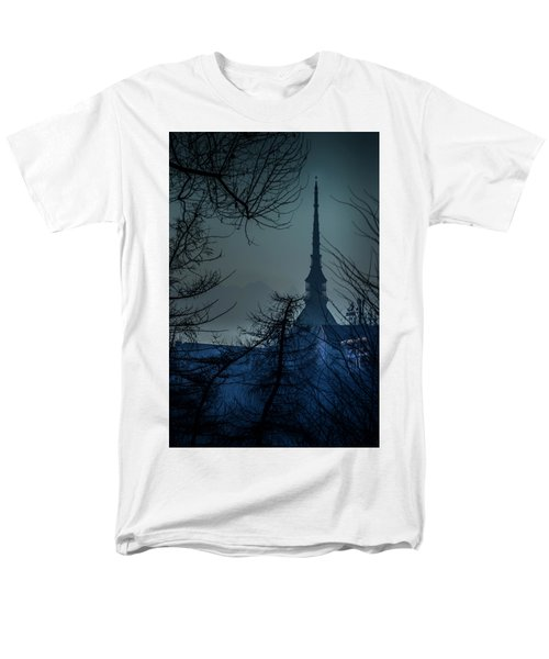 Men's T-Shirt  (Regular Fit) featuring the photograph La Mole Antonelliana-blu by Sonny Marcyan