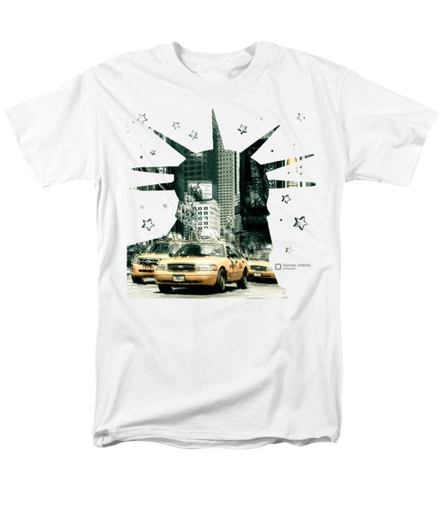 Lady Liberty And The Yellow Cabs Men's T-Shirt  (Regular Fit) by Hannes Cmarits