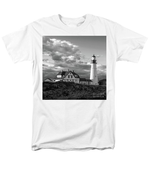 Late Afternoon Clouds, Portland Head Light  -98461-sq Men's T-Shirt  (Regular Fit)