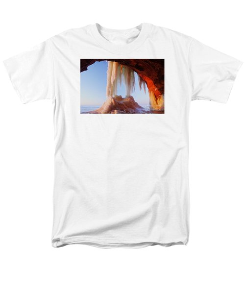 Men's T-Shirt  (Regular Fit) featuring the photograph Late Afternoon In An Ice Cave by Larry Ricker