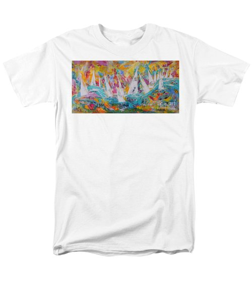 Men's T-Shirt  (Regular Fit) featuring the painting Lets Go Sailing by Lyn Olsen