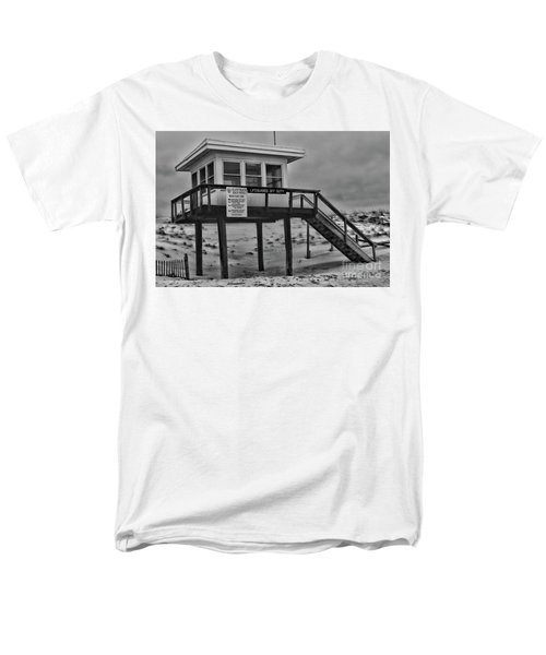 Lifeguard Station 1 In Black And White Men's T-Shirt  (Regular Fit) by Paul Ward