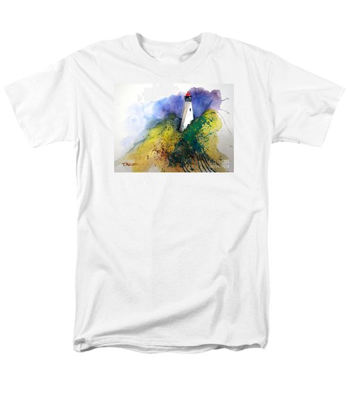 Men's T-Shirt  (Regular Fit) featuring the painting Lighthouse IIi - Original Sold by Therese Alcorn