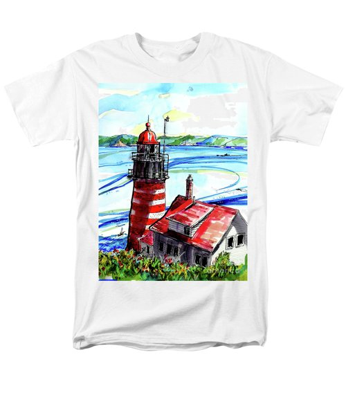 Men's T-Shirt  (Regular Fit) featuring the painting Lighthouse In Maine by Terry Banderas