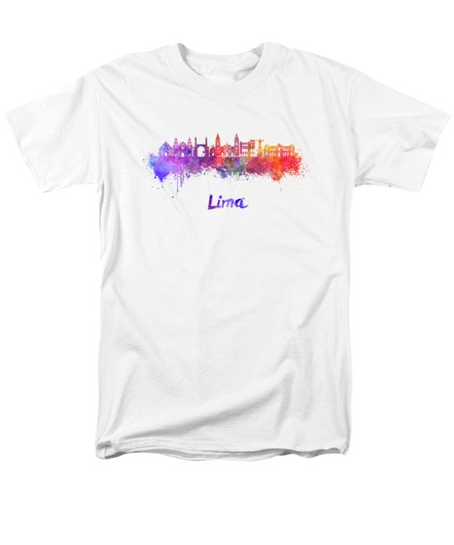 Lima Skyline In Watercolor Men's T-Shirt  (Regular Fit) by Pablo Romero