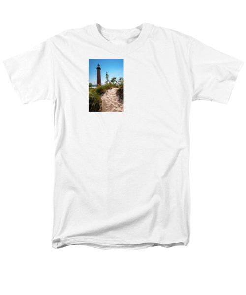 Men's T-Shirt  (Regular Fit) featuring the photograph Little Sable Light Station - Film Scan by Larry Carr