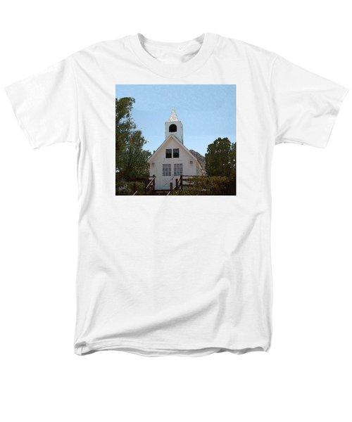 Men's T-Shirt  (Regular Fit) featuring the digital art Little White Church by Walter Chamberlain