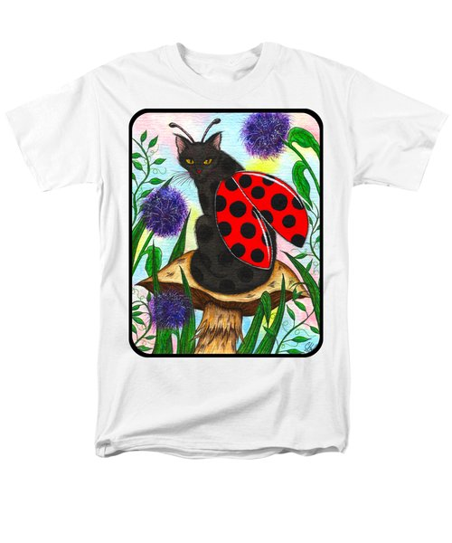 Men's T-Shirt  (Regular Fit) featuring the painting Logan Ladybug Fairy Cat by Carrie Hawks