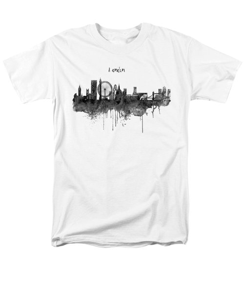 London Black And White Skyline Watercolor Men's T-Shirt  (Regular Fit) by Marian Voicu