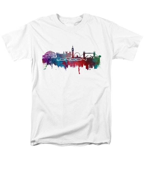 London Skyline City Blue Men's T-Shirt  (Regular Fit) by Justyna JBJart