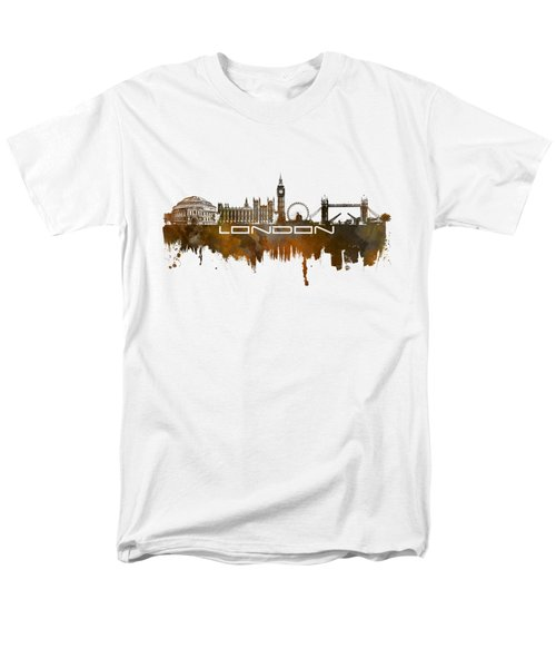 London Skyline City Brown Men's T-Shirt  (Regular Fit) by Justyna JBJart