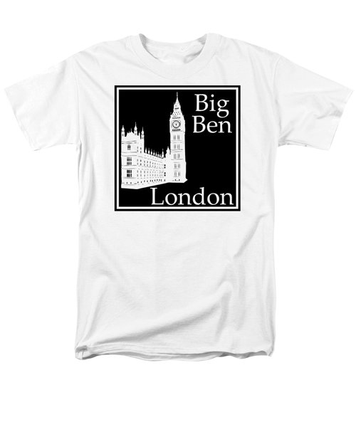 London's Big Ben In Black Men's T-Shirt  (Regular Fit) by Custom Home Fashions