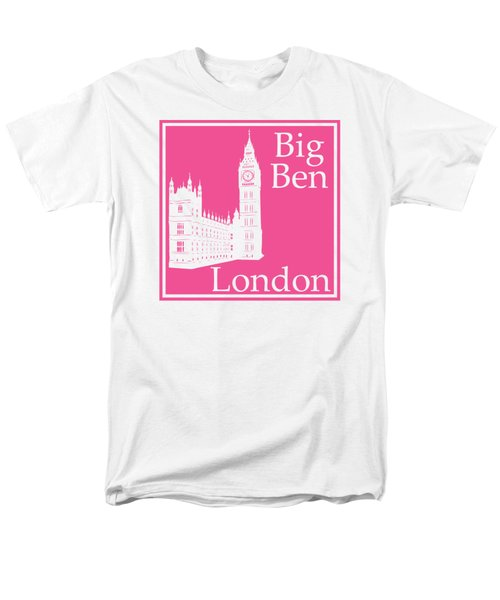 London's Big Ben In French Pink Men's T-Shirt  (Regular Fit)