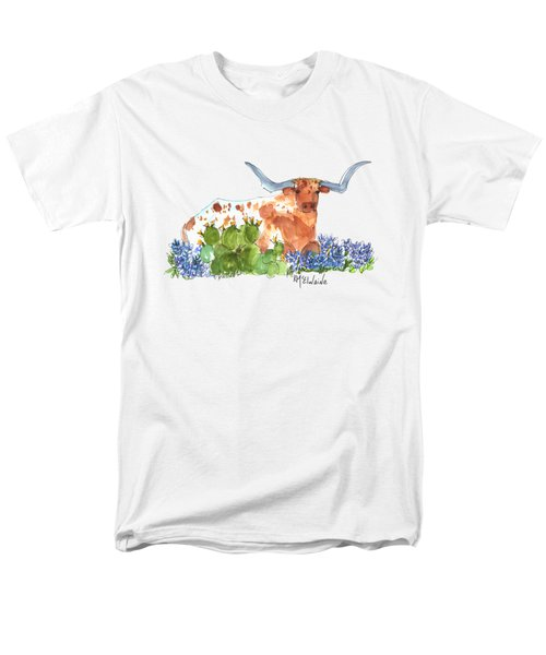 Longhorn In The Cactus And Bluebonnets Lh014 Kathleen Mcelwaine Men's T-Shirt  (Regular Fit) by Kathleen McElwaine