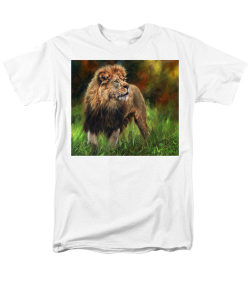 Men's T-Shirt  (Regular Fit) featuring the painting Look Of The Lion by David Stribbling
