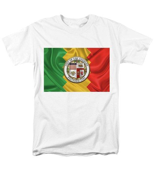 Los Angeles City Seal Over Flag Of L.a. Men's T-Shirt  (Regular Fit)