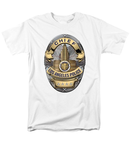 Los Angeles Police Department  -  L A P D  Chief Badge Over White Leather Men's T-Shirt  (Regular Fit) by Serge Averbukh