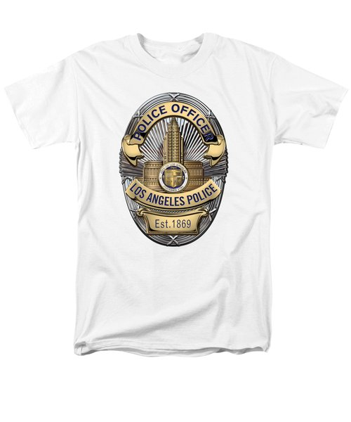 Los Angeles Police Department  -  L A P D  Police Officer Badge Over White Leather Men's T-Shirt  (Regular Fit) by Serge Averbukh