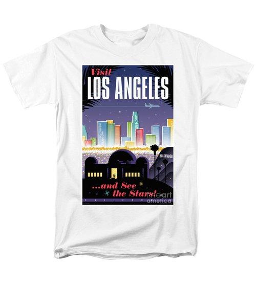 Los Angeles Retro Travel Poster Men's T-Shirt  (Regular Fit) by Jim Zahniser