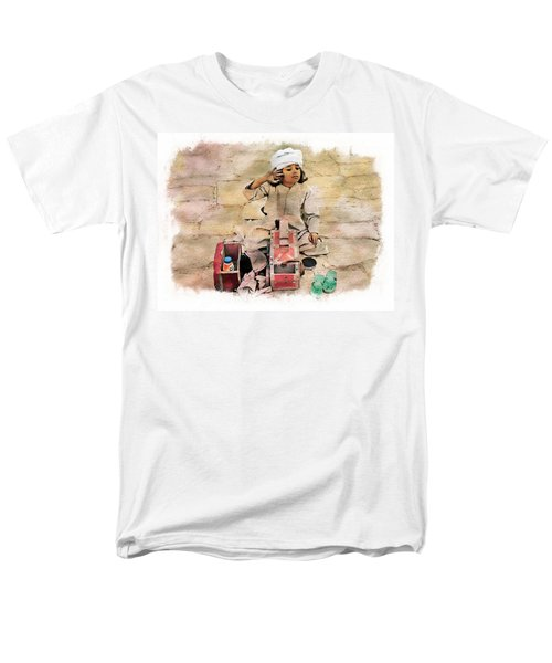 Men's T-Shirt  (Regular Fit) featuring the photograph Luxor Shoeshine Girl by Joseph Hendrix