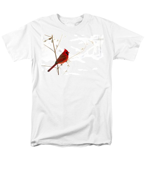 Male Cardinal Posing In The Snow Men's T-Shirt  (Regular Fit) by Randall Branham