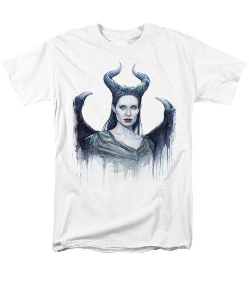 Maleficent Watercolor Portrait Men's T-Shirt  (Regular Fit) by Olga Shvartsur
