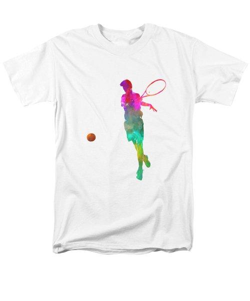 Man Tennis Player 01 In Watercolor Men's T-Shirt  (Regular Fit) by Pablo Romero