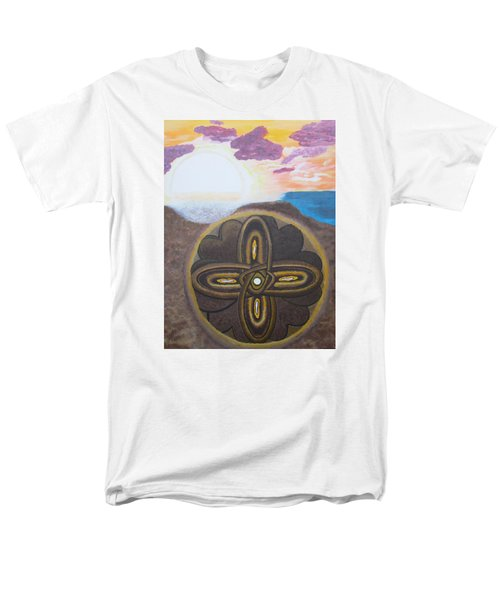 Men's T-Shirt  (Regular Fit) featuring the painting Mandala In The Sand by Cheryl Bailey