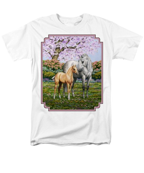 Mare And Foal Pillow Pink Men's T-Shirt  (Regular Fit) by Crista Forest