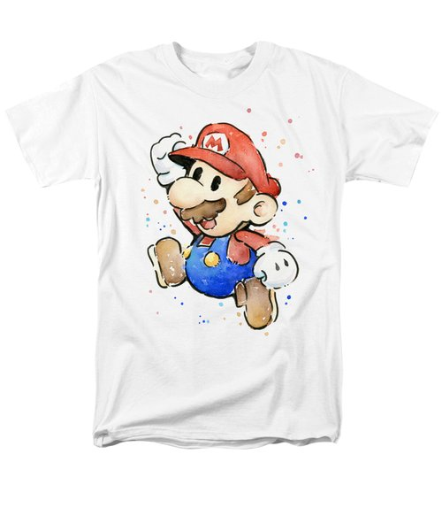 Mario Watercolor Fan Art Men's T-Shirt  (Regular Fit) by Olga Shvartsur