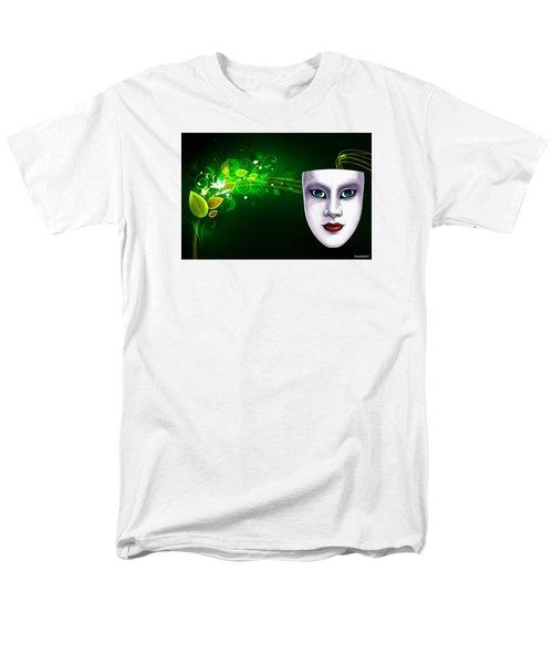 Mask Blue Eyes On Green Vines Men's T-Shirt  (Regular Fit) by Gary Crockett