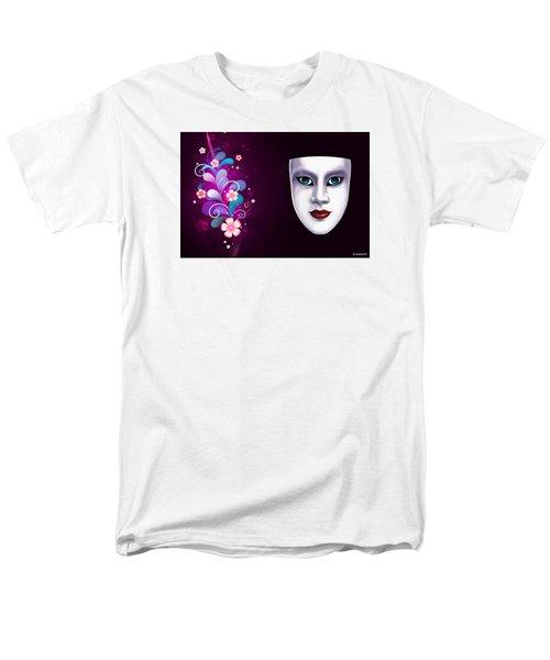 Mask With Blue Eyes Floral Design Men's T-Shirt  (Regular Fit)