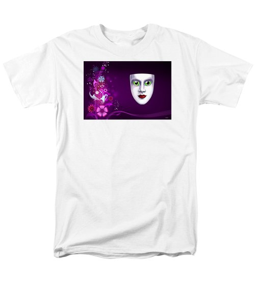Men's T-Shirt  (Regular Fit) featuring the photograph Mask With Green Eyes On Pink Floral Background by Gary Crockett