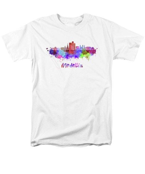 Medellin Skyline In Watercolor Men's T-Shirt  (Regular Fit) by Pablo Romero