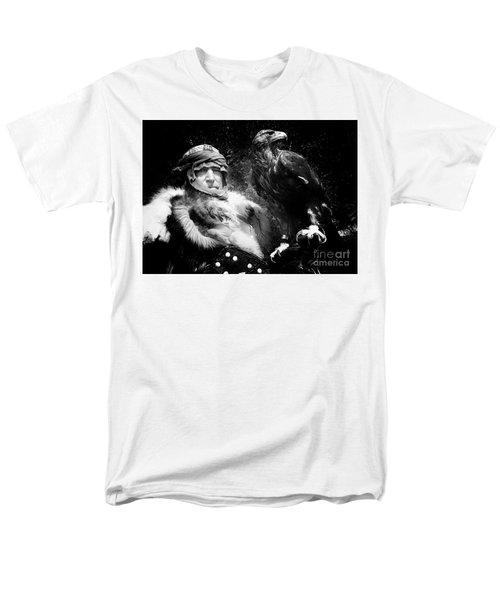 Men's T-Shirt  (Regular Fit) featuring the photograph Medieval Fair Barbarian And Golden Eagle by Bob Christopher
