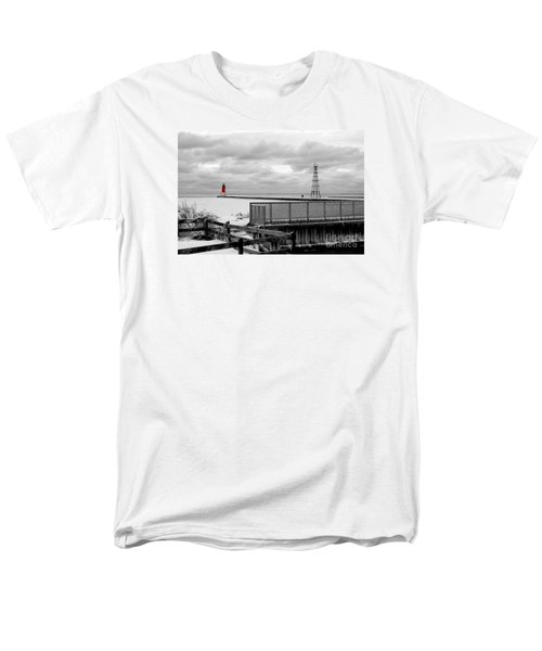Men's T-Shirt  (Regular Fit) featuring the photograph Menominee North Pier Lighthouse On Ice by Mark J Seefeldt