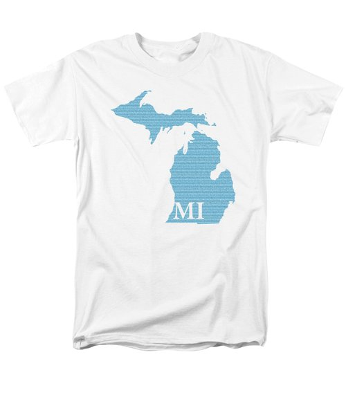 Michigan State Map With Text Of Constitution Men's T-Shirt  (Regular Fit) by Design Turnpike