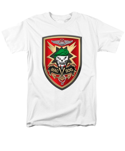 Military Assistance Command, Vietnam - Studies And Observations Group Patch Over White Leather Men's T-Shirt  (Regular Fit) by Serge Averbukh